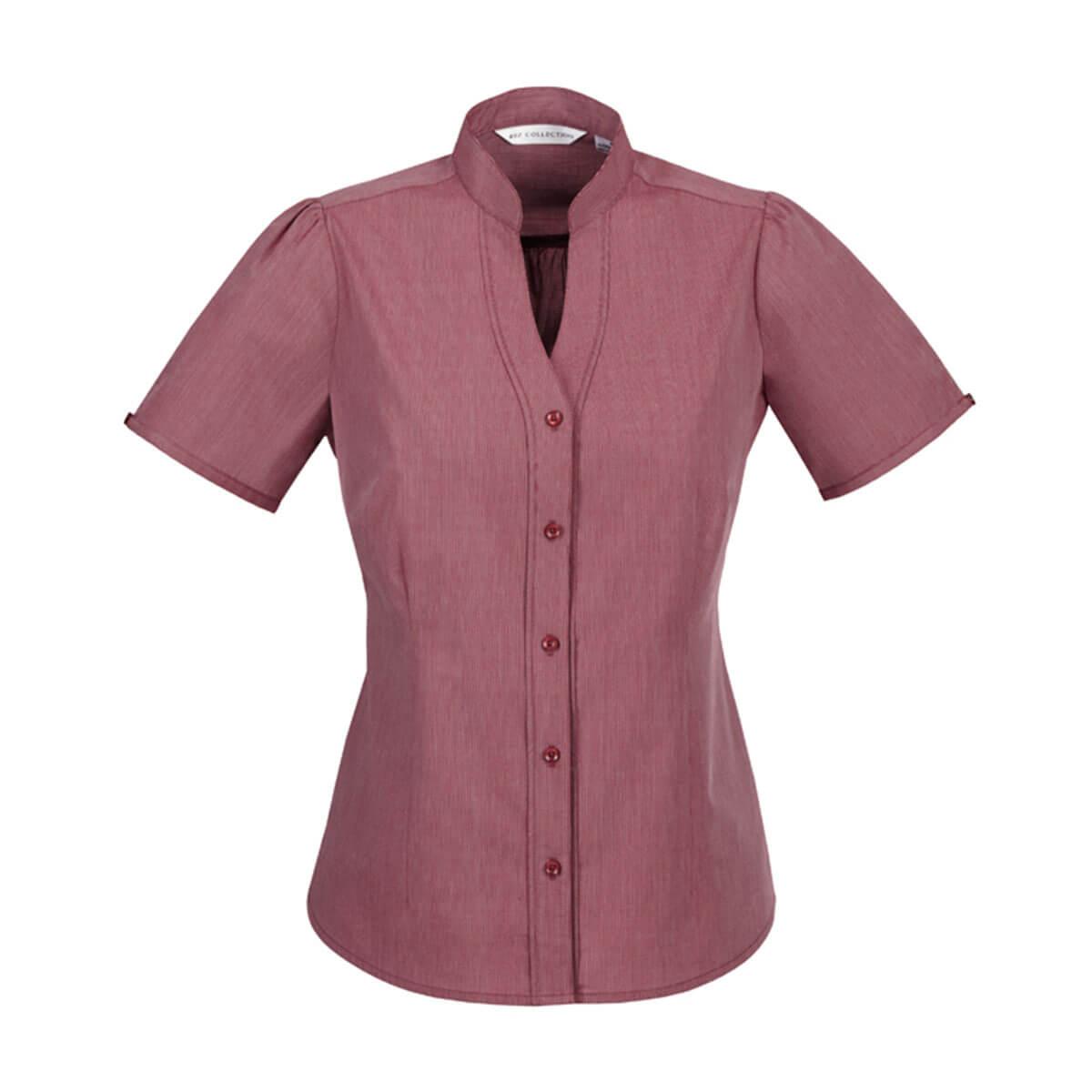 Ladies Chevron Stand Collar Shirt-Cherry