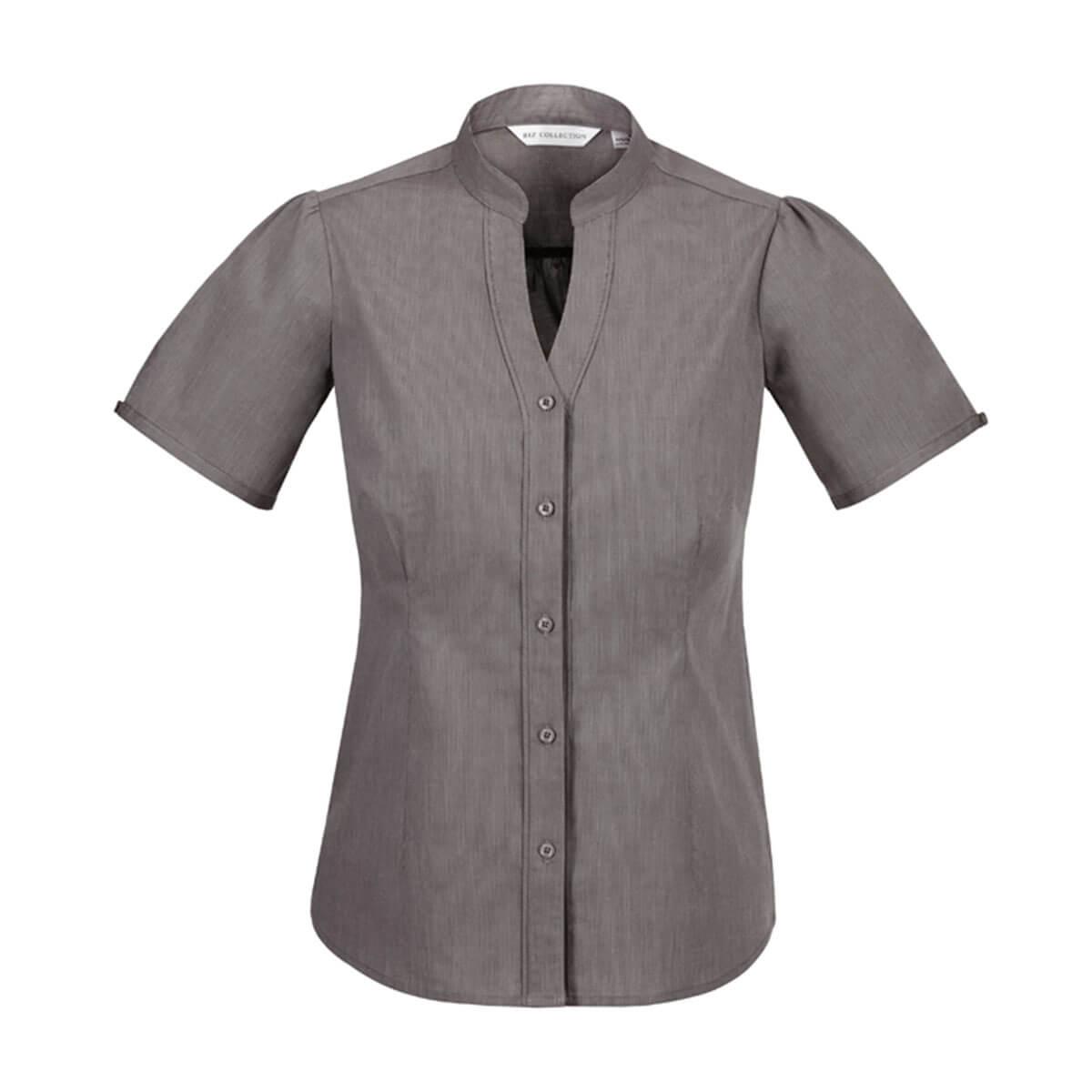 Ladies Chevron Stand Collar Shirt-Graphite
