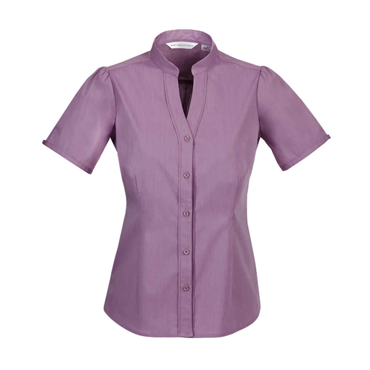 Ladies Chevron Stand Collar Shirt-Grape