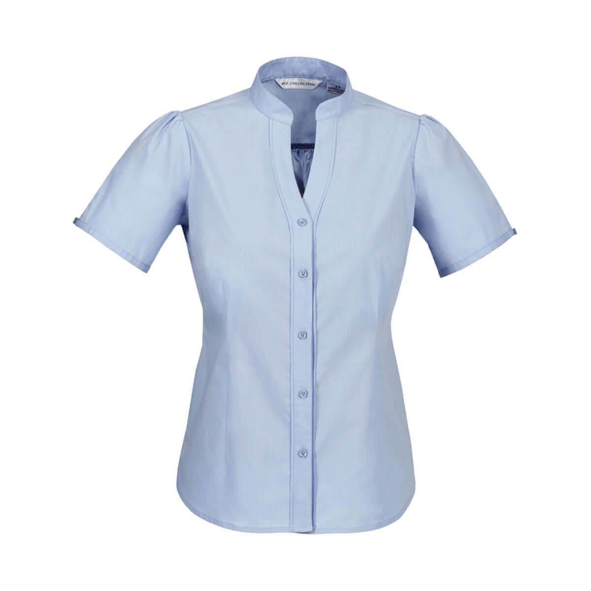 Ladies Chevron Stand Collar Shirt-Blue