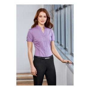 Ladies Chevron Stand Collar Shirt