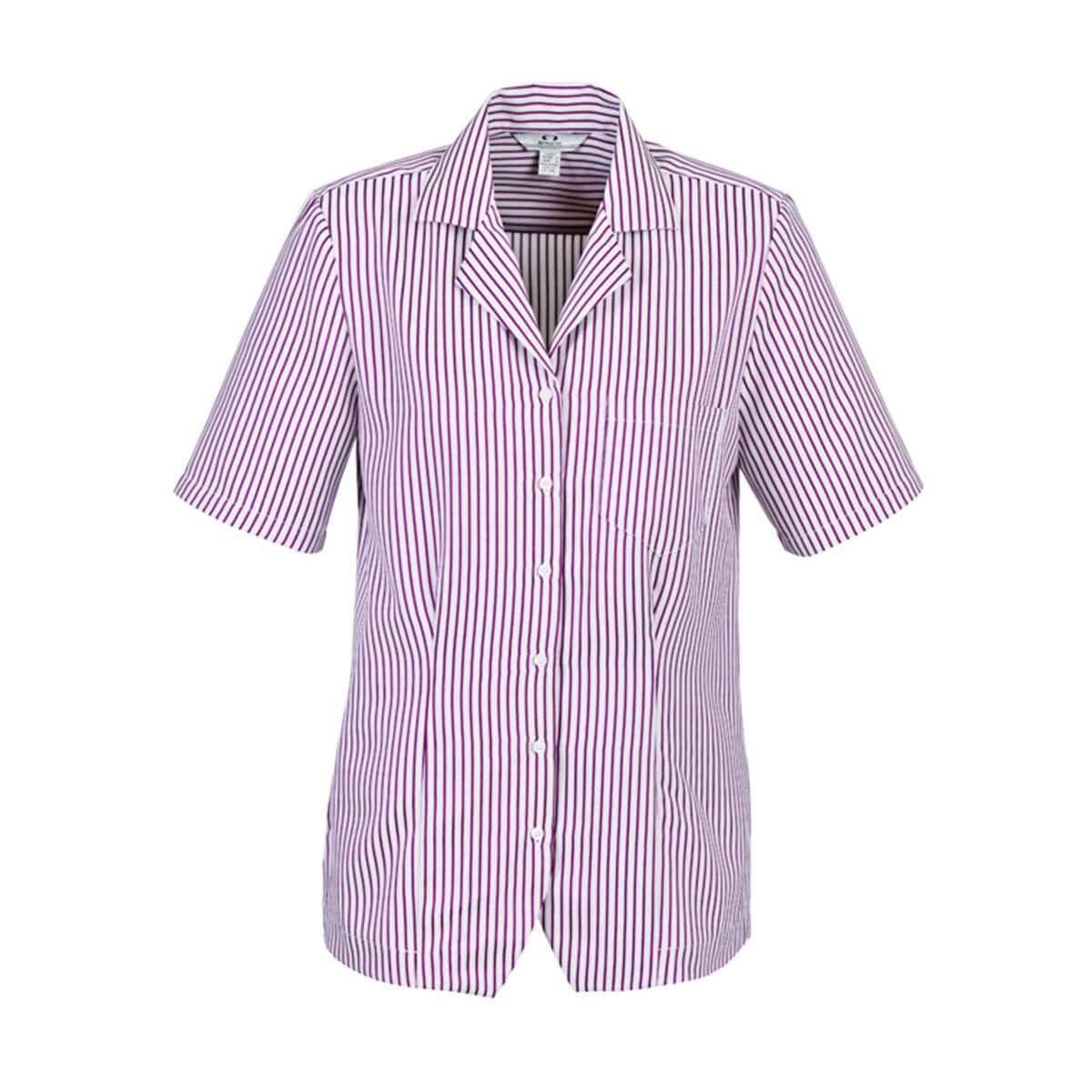 Ladies Stripe Oasis Overblouse-White / Grape
