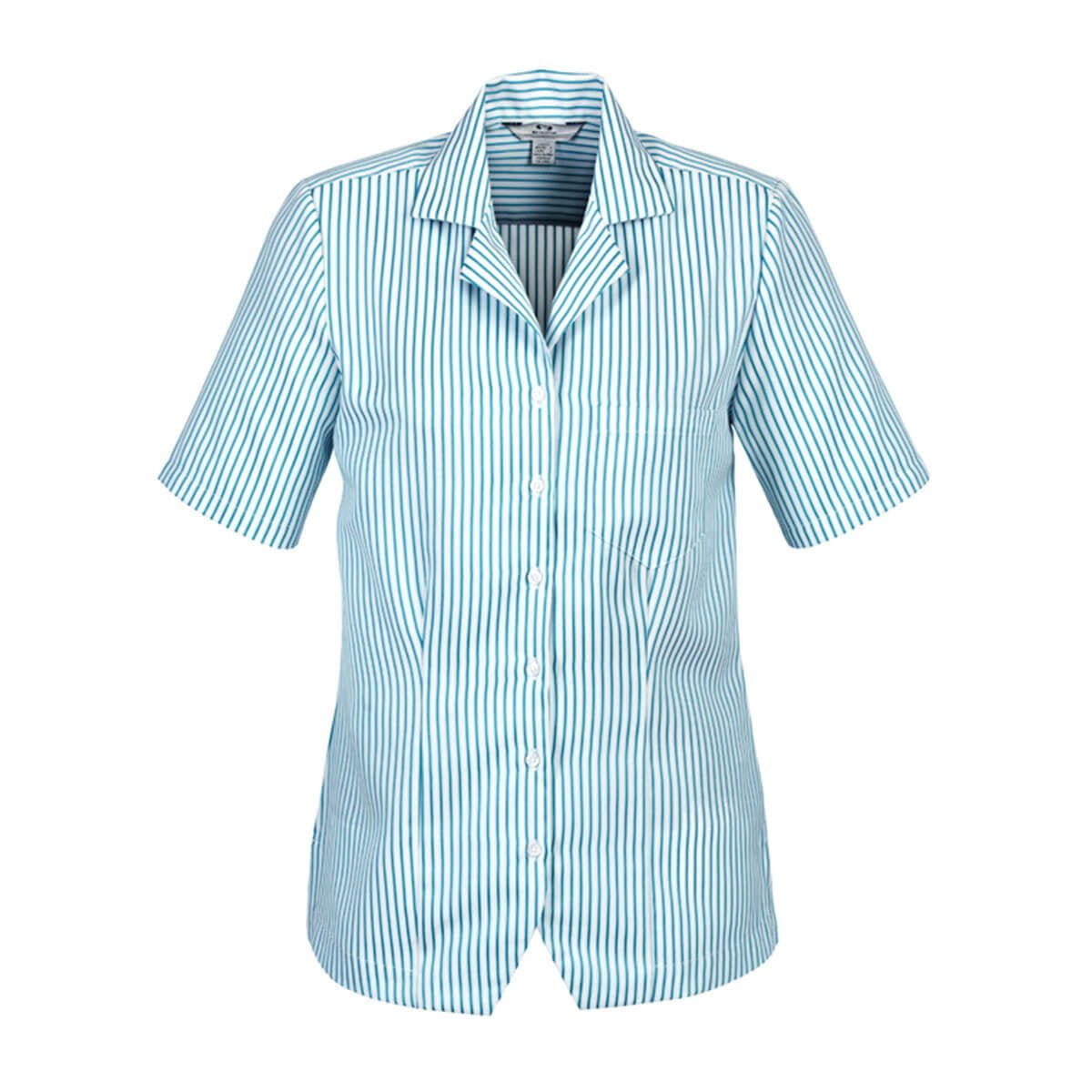 Ladies Stripe Oasis Overblouse-White / Teal