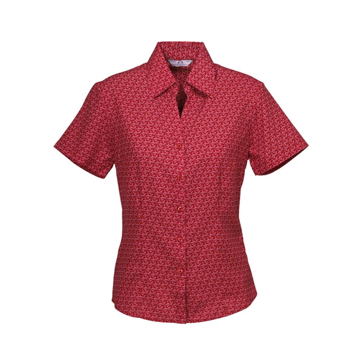 Ladies Printed Oasis Short Sleeve Shirt-Cherry