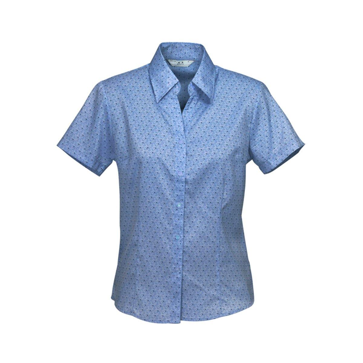 Ladies Printed Oasis Short Sleeve Shirt-Mid Blue