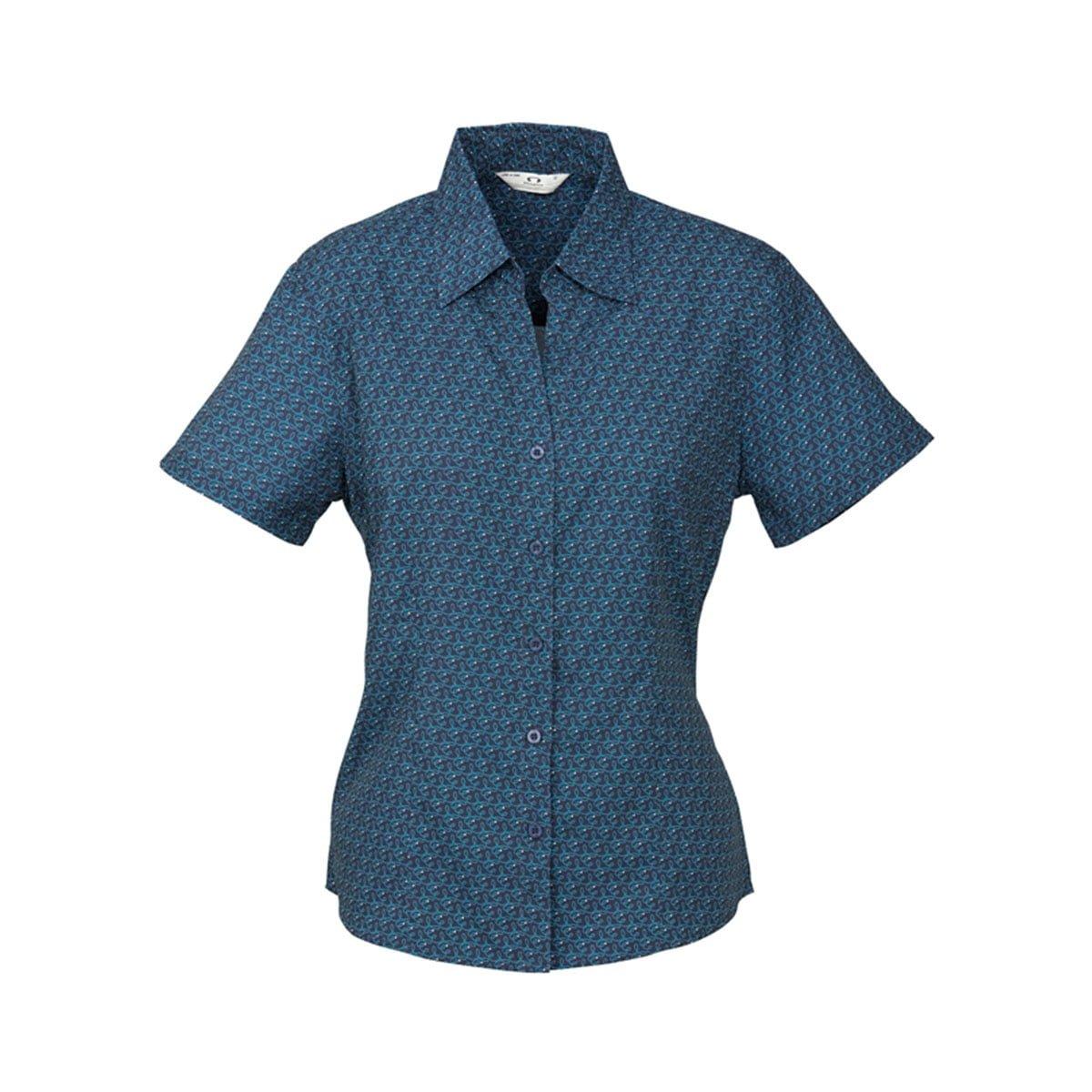 Ladies Printed Oasis Short Sleeve Shirt-Navy