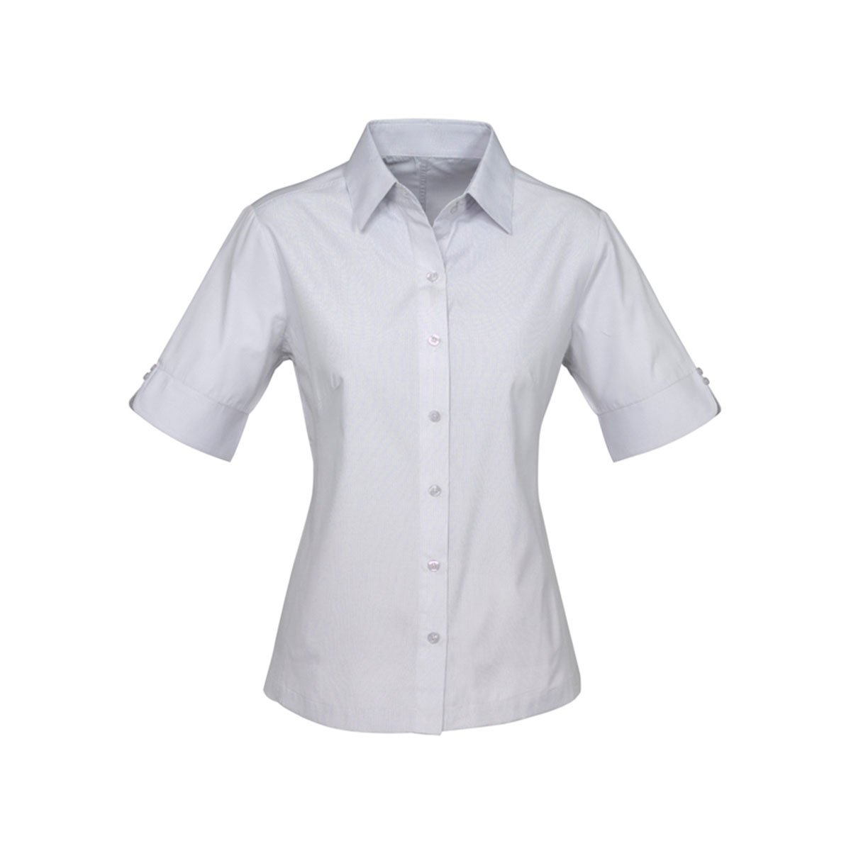 Ladies Ambassador Short Sleeve Shirt-Silver Grey