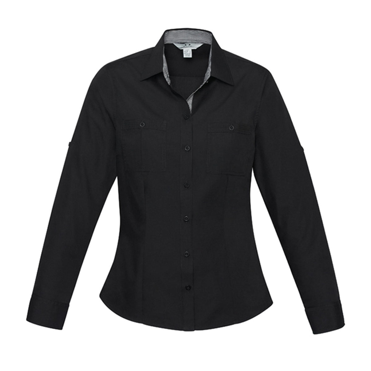 Ladies Bondi Long Sleeve Shirt-Black / Check