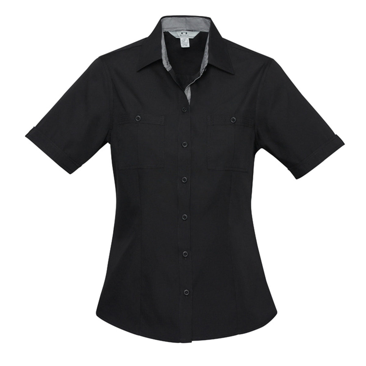 Ladies Bondi Short Sleeve Shirt-Black / Check