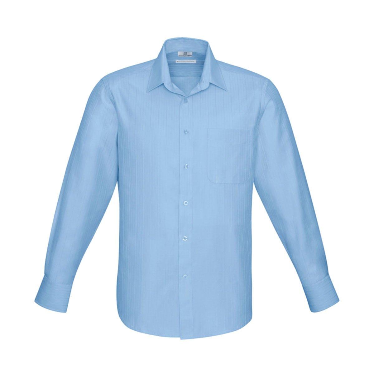 Mens Preston Long Sleeve Shirt-Blue
