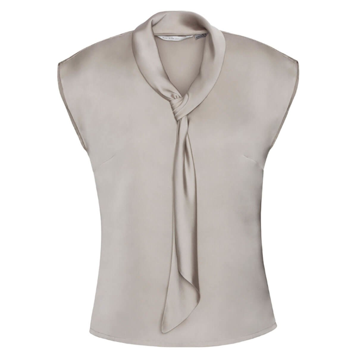 Ladies Shimmer Tie Neck Top-Champagne