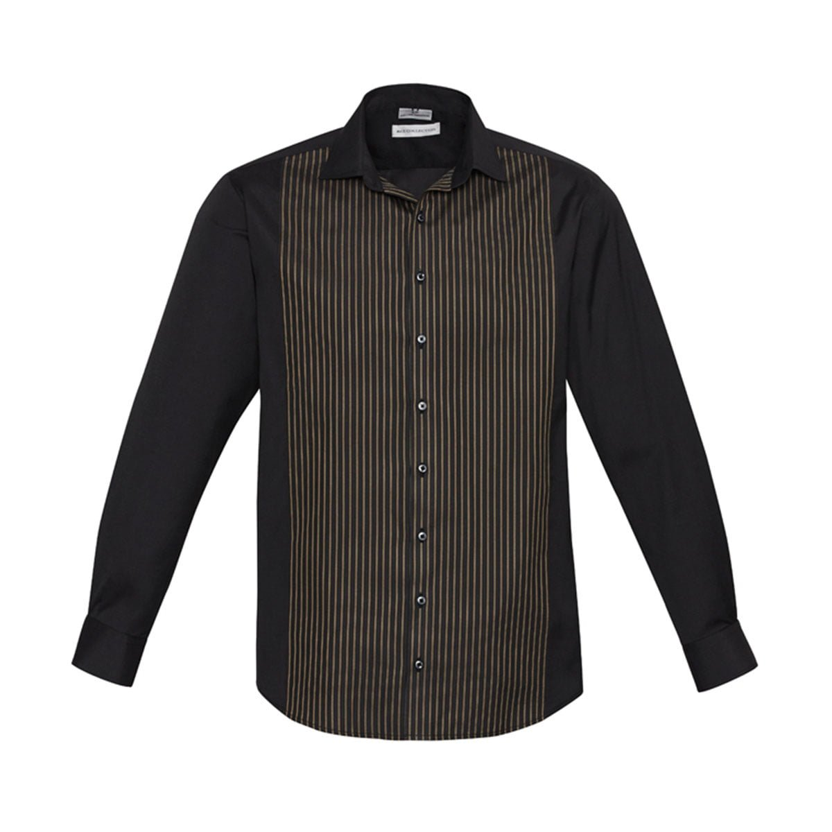 Mens Reno Panel Long Sleeve Shirt-Black / Copper Gold