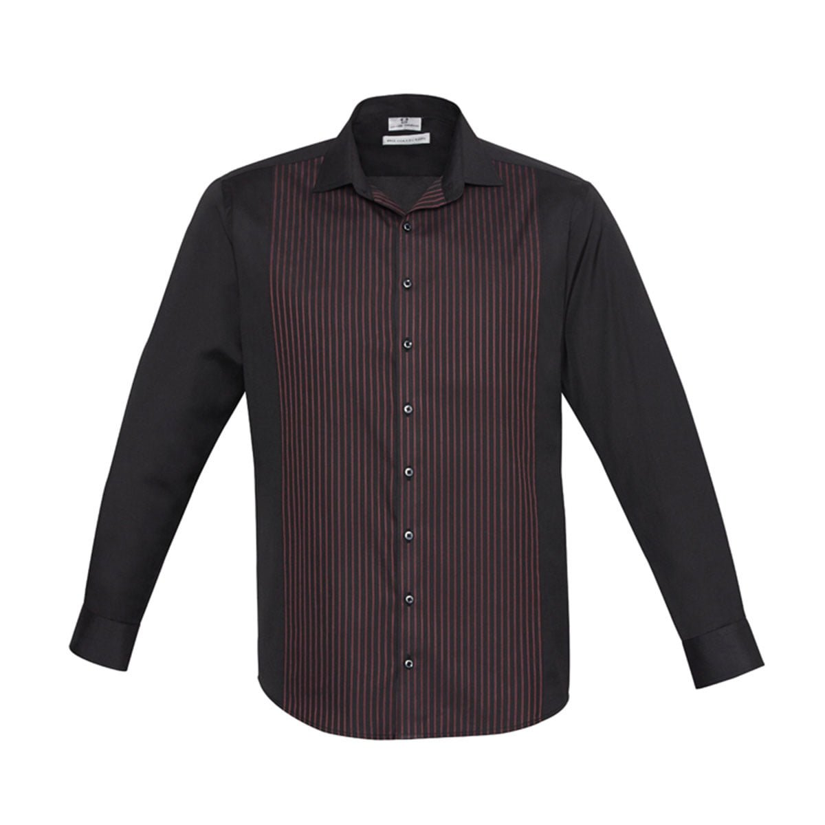 Mens Reno Panel Long Sleeve Shirt-Black / Port Wine