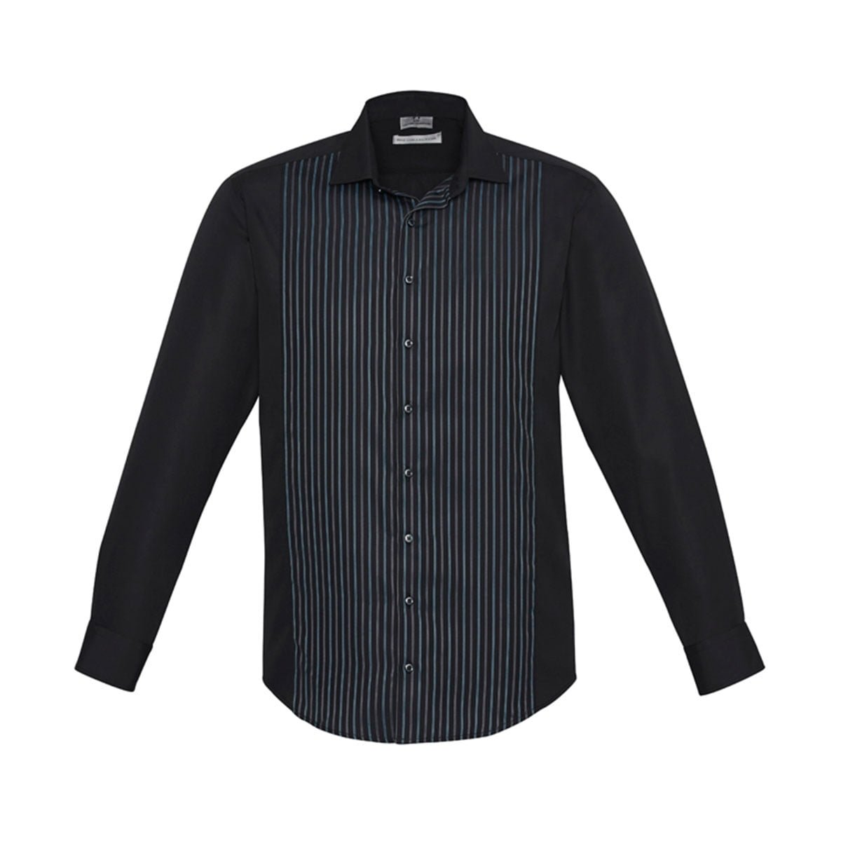 Mens Reno Panel Long Sleeve Shirt-Black / Teal Blue