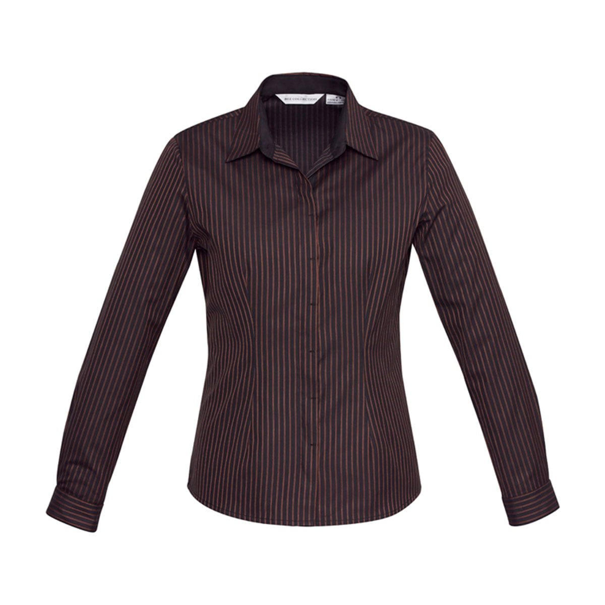 Ladies Reno Stripe Long Sleeve Shirt-Port Wine