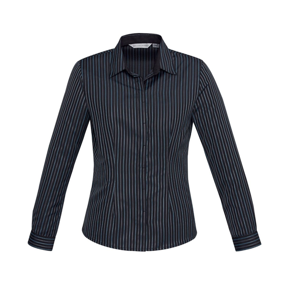 Ladies Reno Stripe Long Sleeve Shirt-Teal Blue