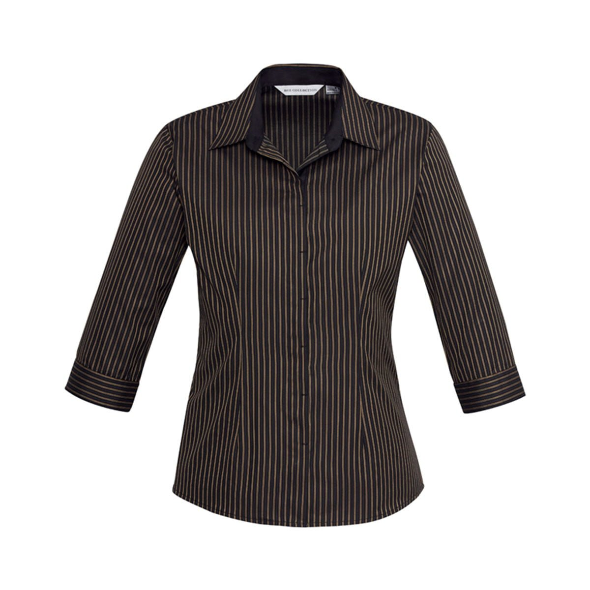 Ladies Reno Stripe 3/4 Sleeve Shirt-Copper Gold