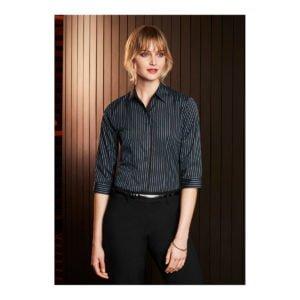 Ladies Reno Stripe 3/4 Sleeve Shirt