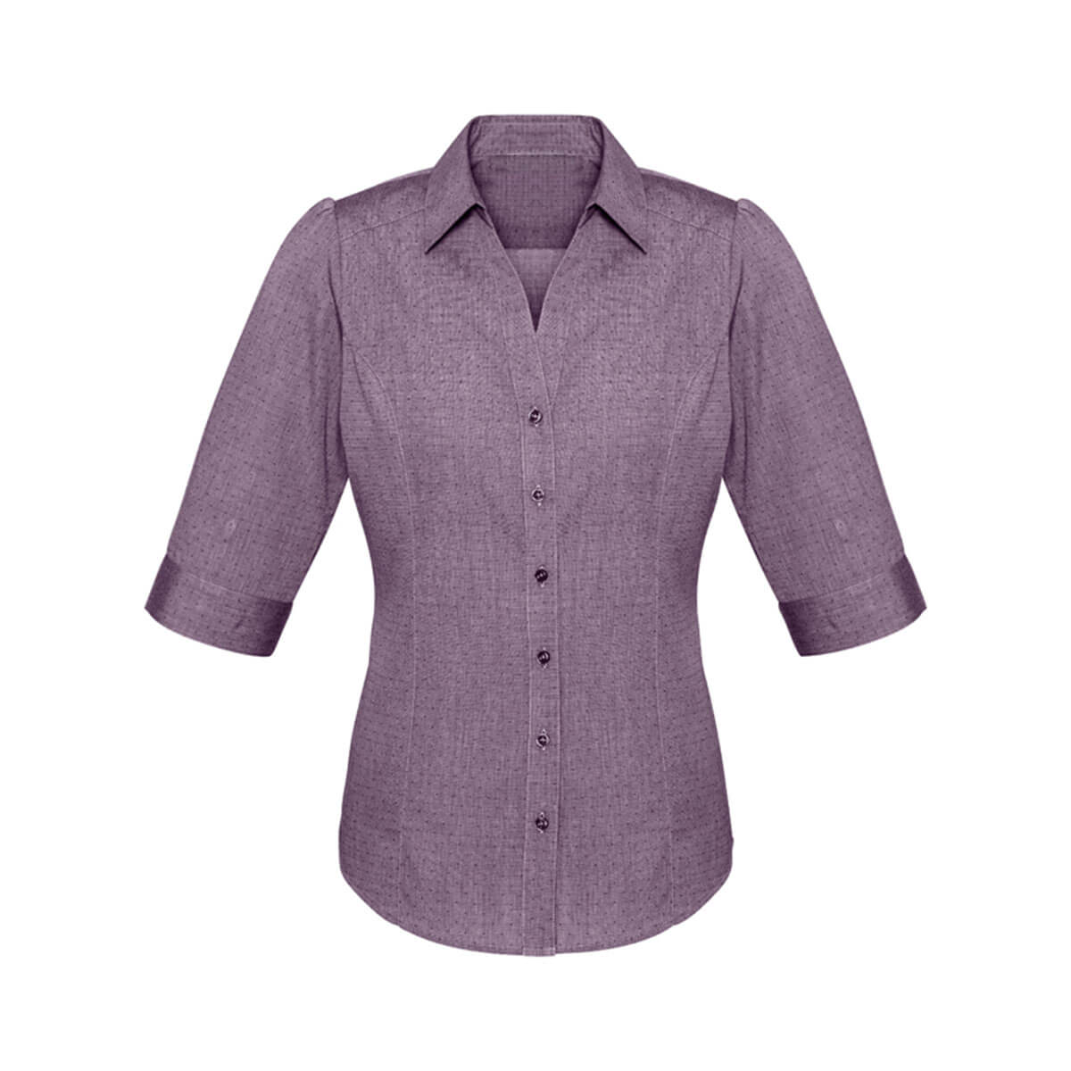 Ladies Trend 3/4 Sleeve Shirt-Plum