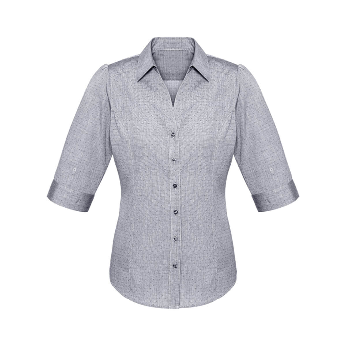 Ladies Trend 3/4 Sleeve Shirt-Silver