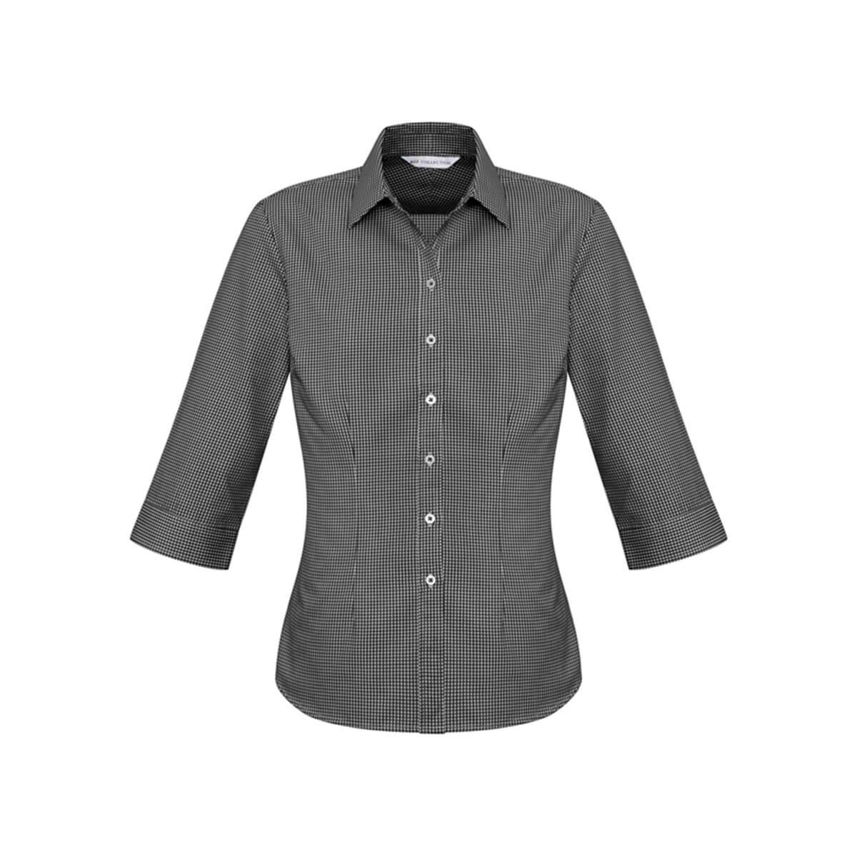 Ladies Ellison 3/4 Sleeve Shirt-Black