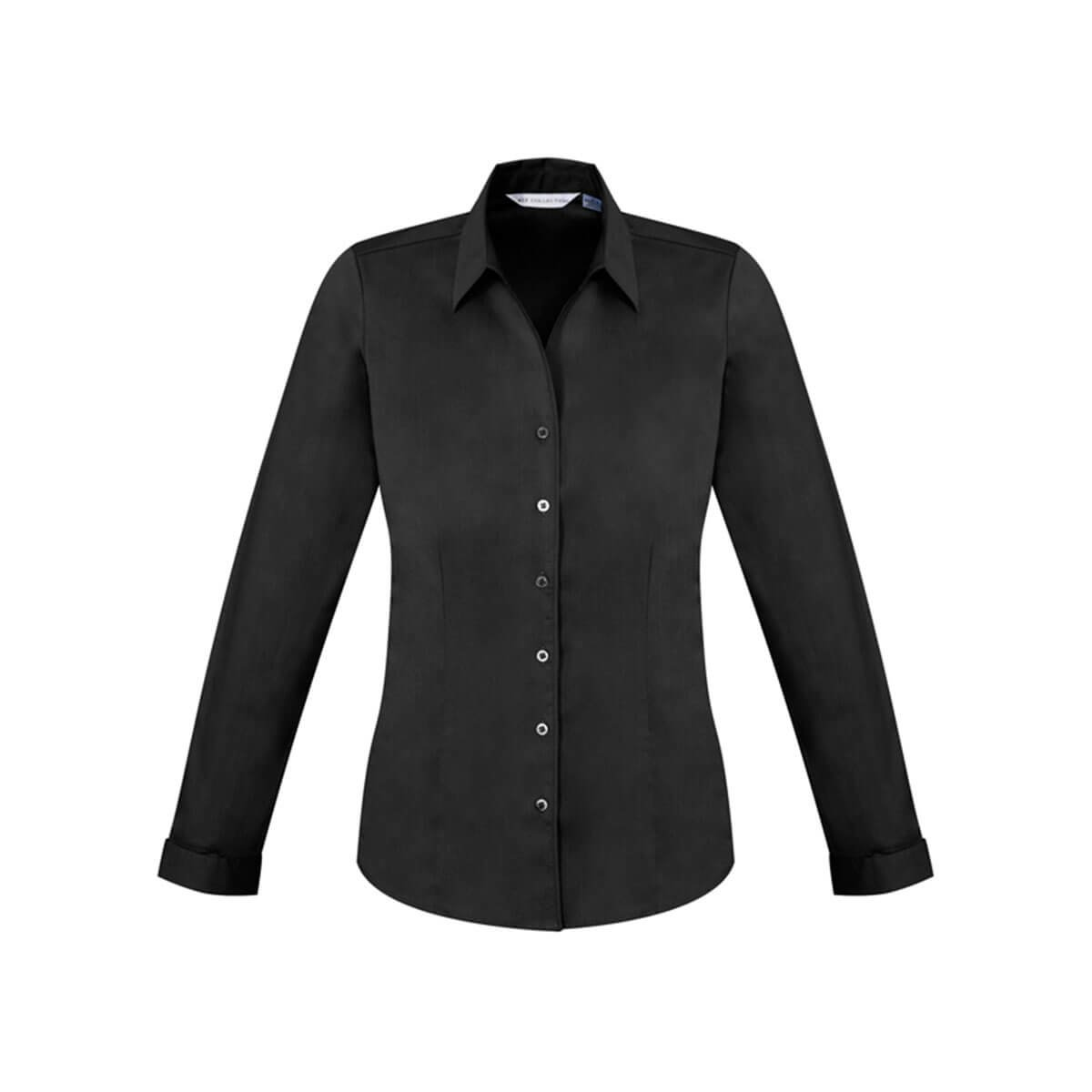 Ladies Monaco Long Sleeve Shirt-Black