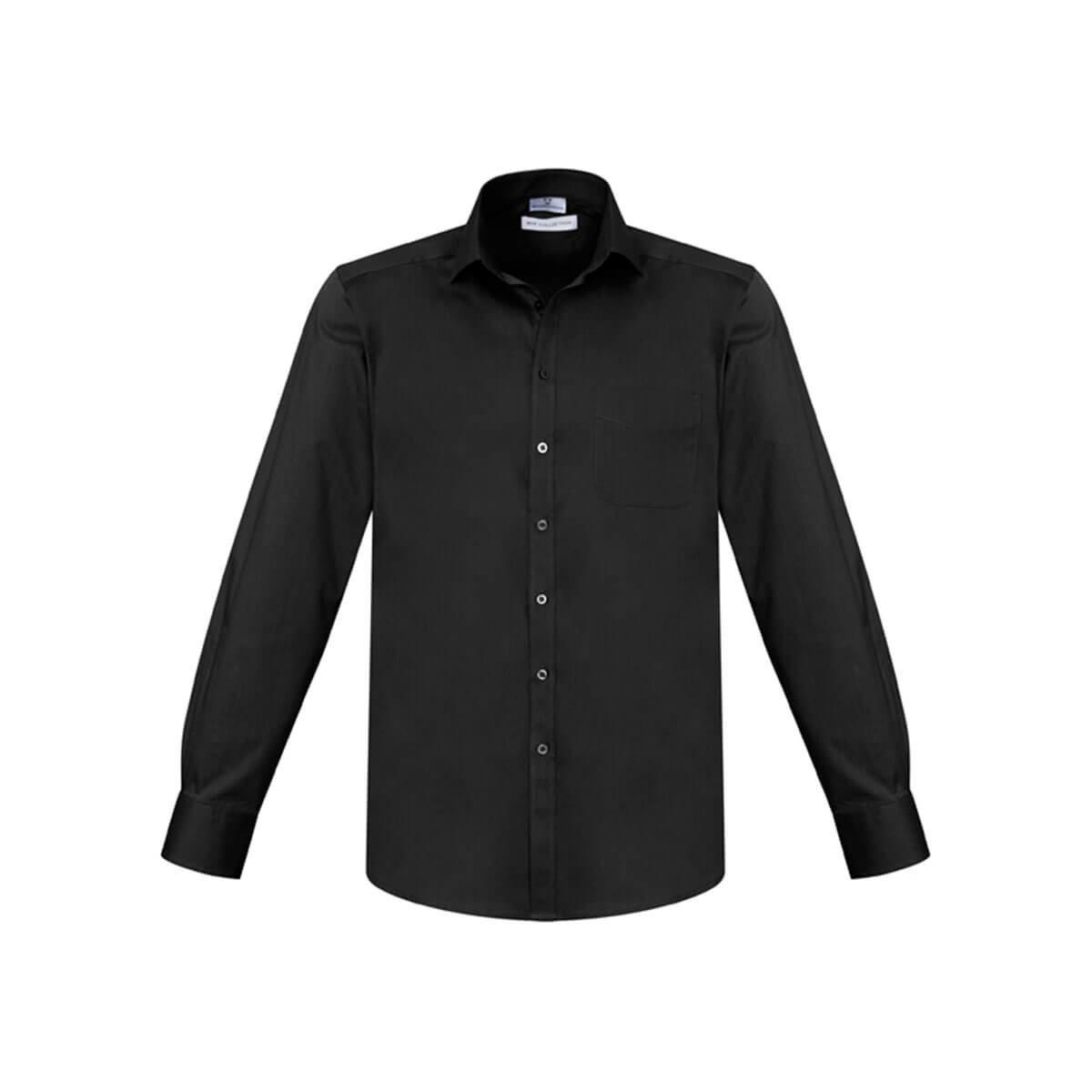 Mens Monaco Long Sleeve Shirt-Black