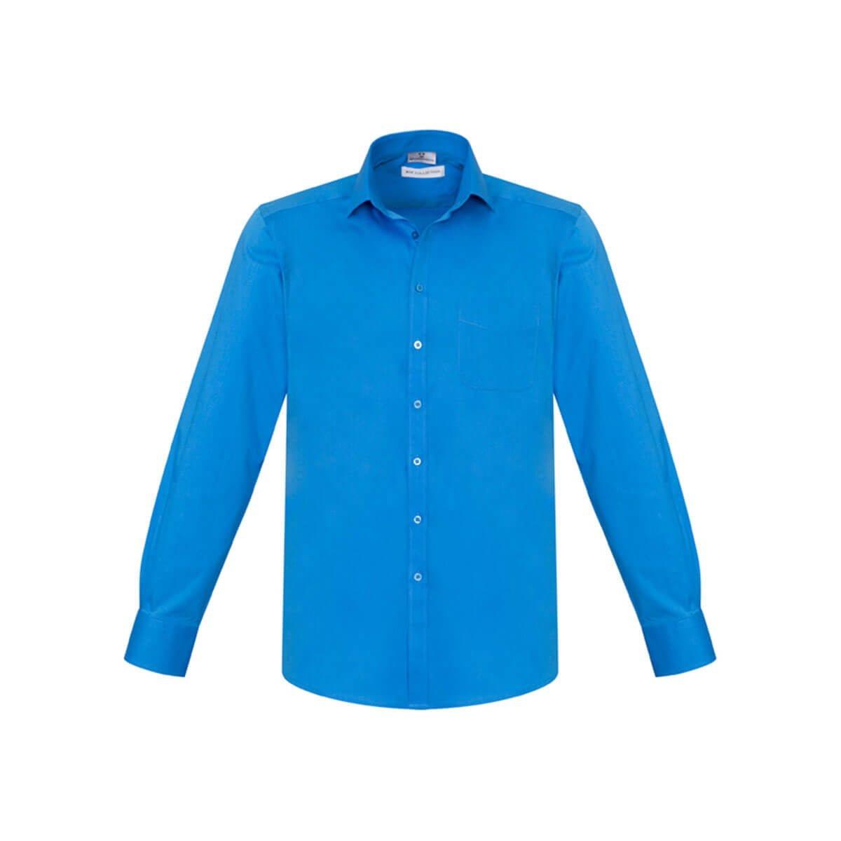 Mens Monaco Long Sleeve Shirt-Cyan