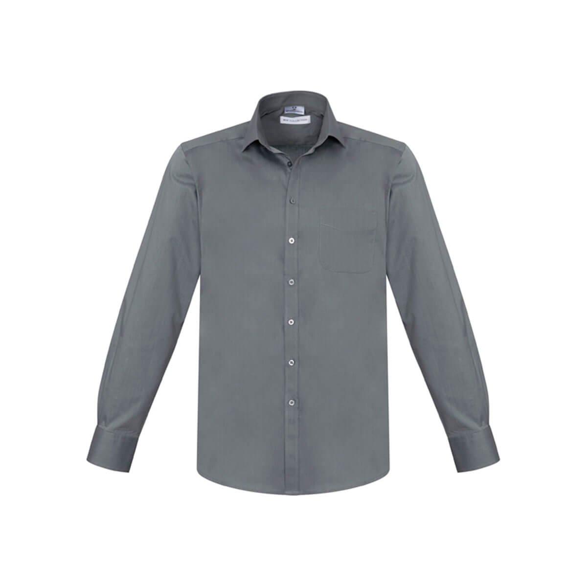 Mens Monaco Long Sleeve Shirt-Platinum