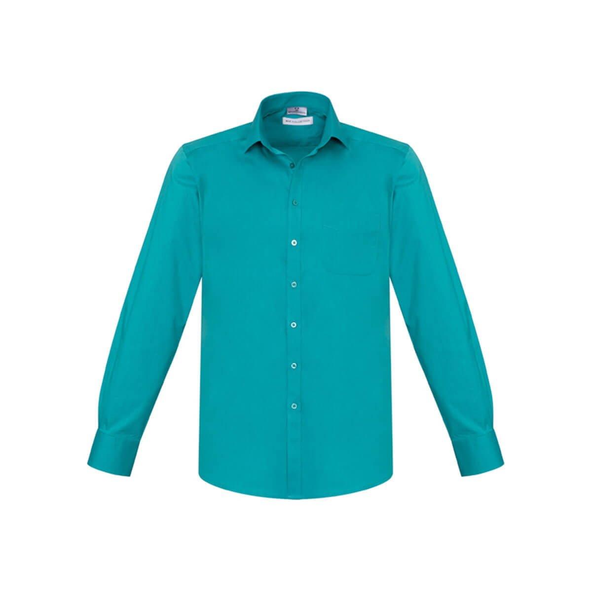 Mens Monaco Long Sleeve Shirt-Teal