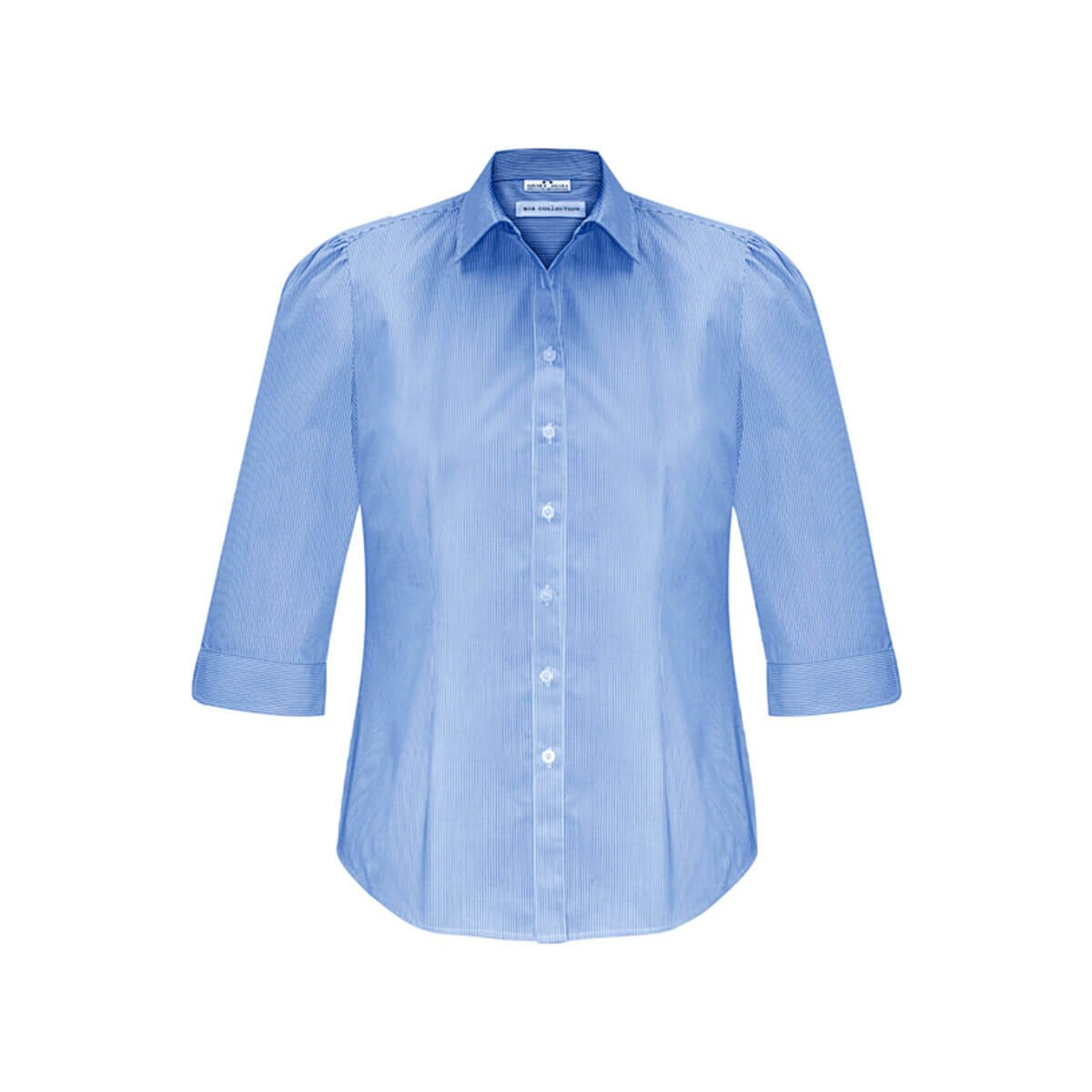 Ladies Euro 3/4 Sleeve Shirt-Blue