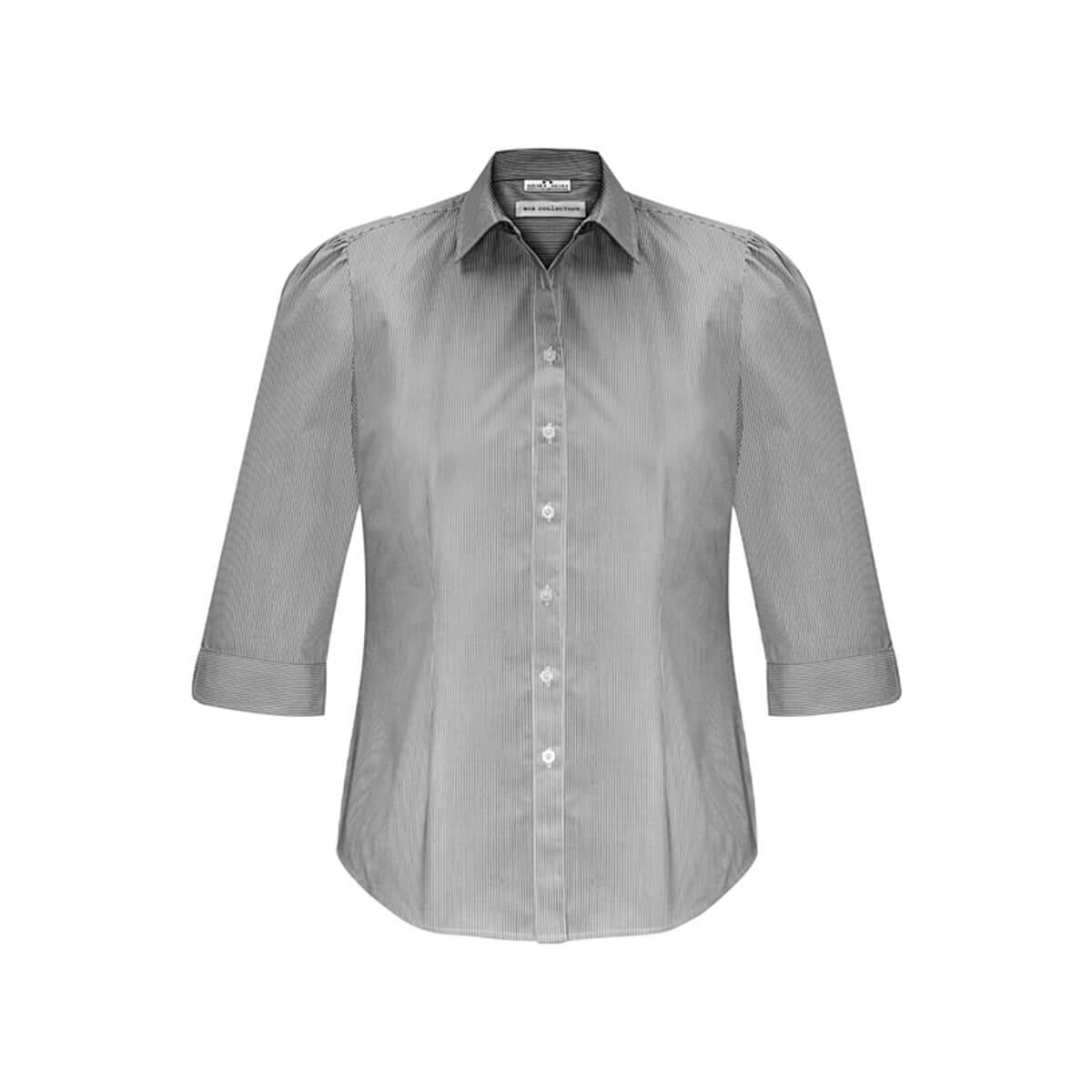 Ladies Euro 3/4 Sleeve Shirt-Black