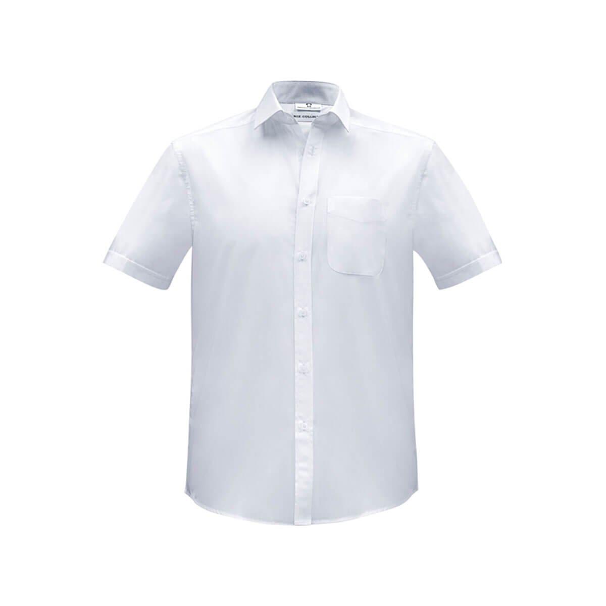 Mens Euro Short Sleeve Shirt-White
