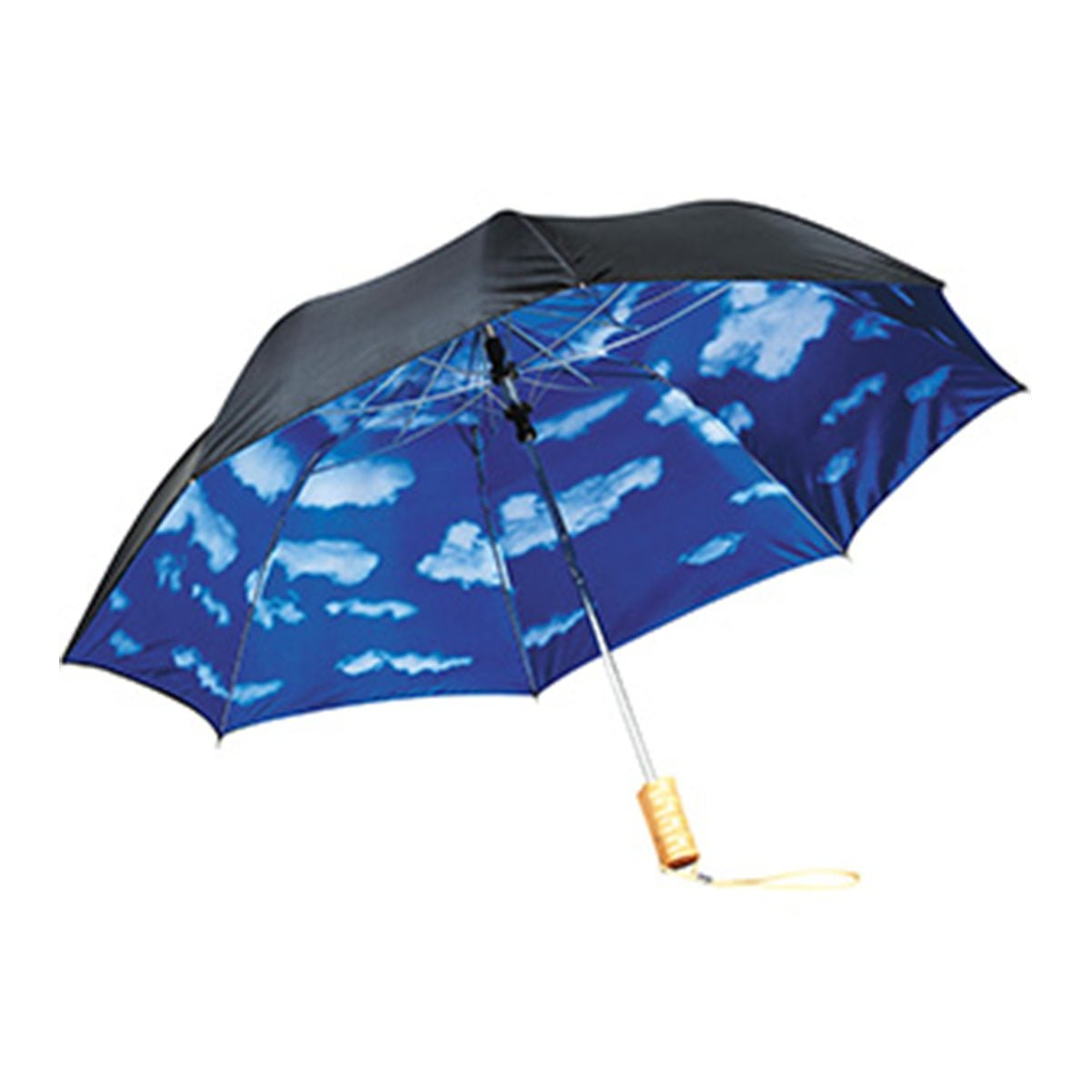46″ Blue Skies Auto Open Folding Umbrella-Black