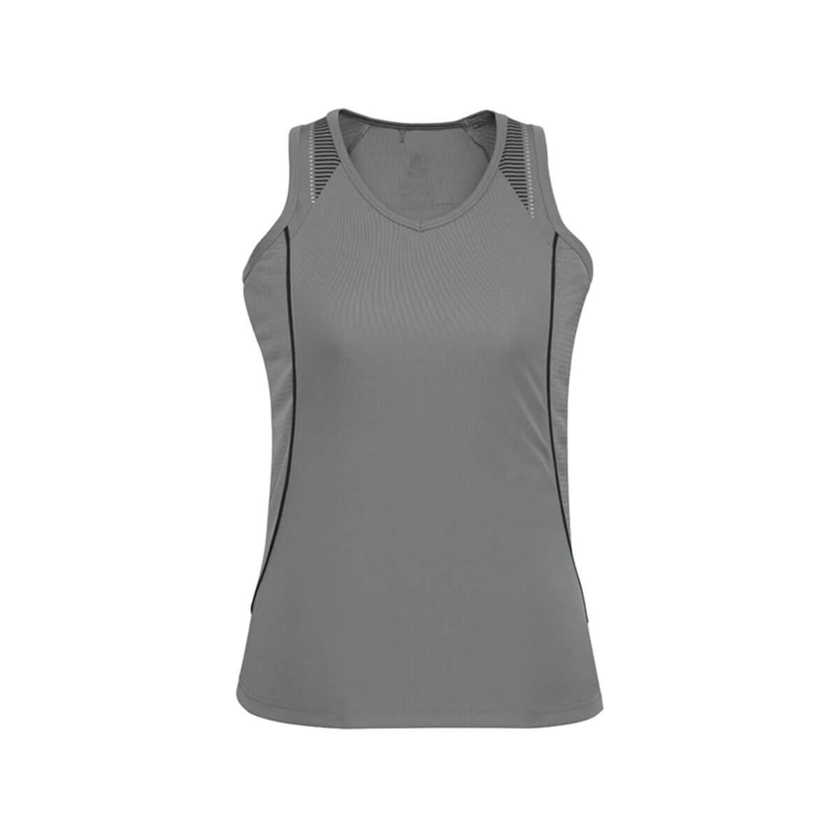 Ladies Razor Singlet-Ash / Black