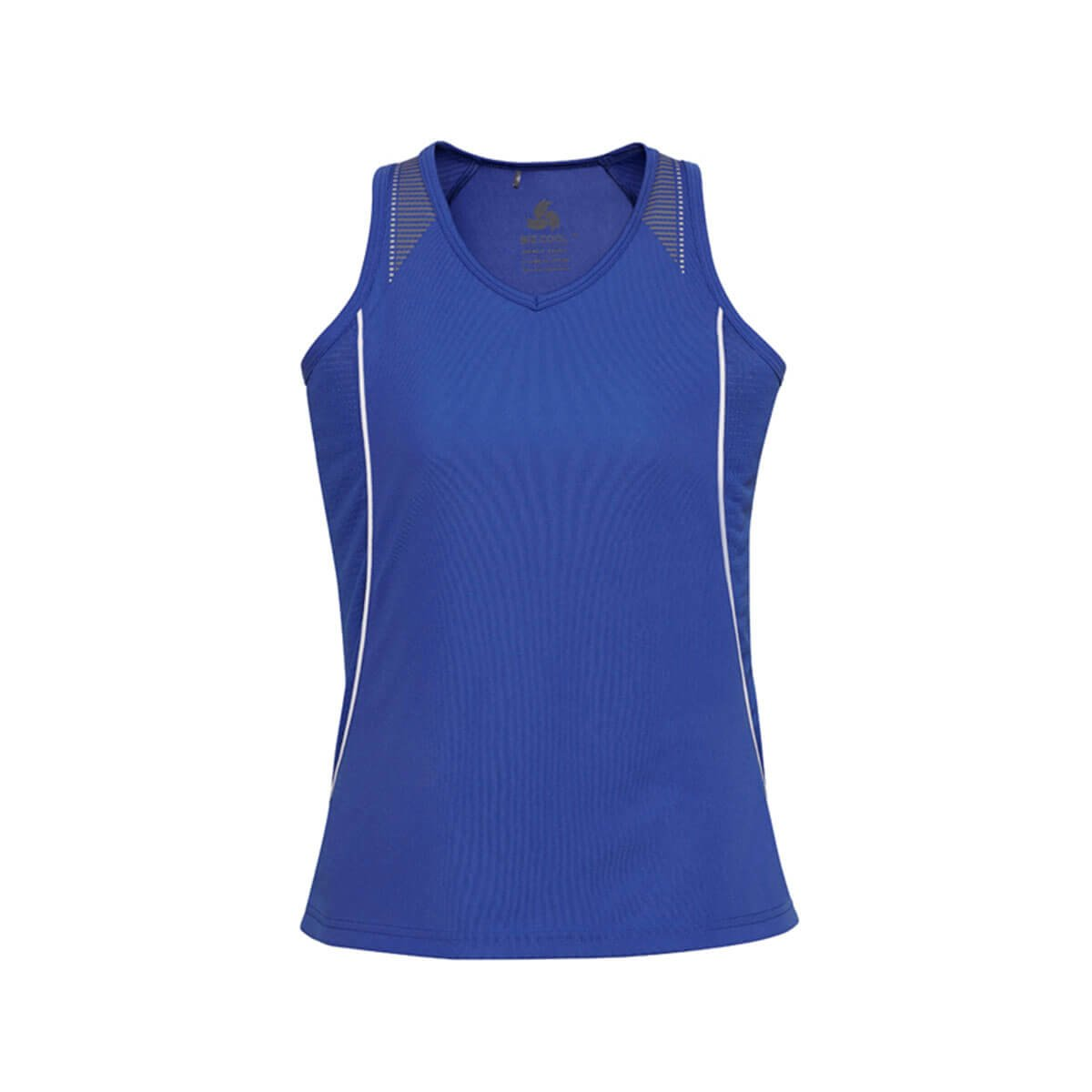 Ladies Razor Singlet-Royal / White