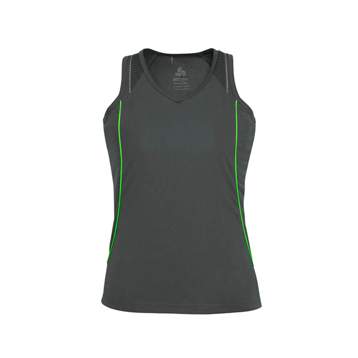 Ladies Razor Singlet-Grey / Fluoro Lime
