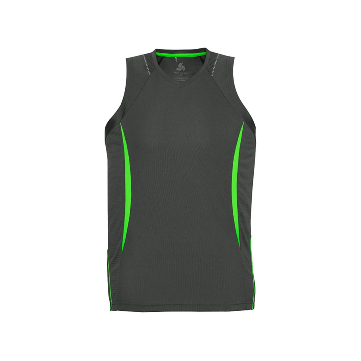 Mens Razor Singlet-Grey / Fluoro Lime