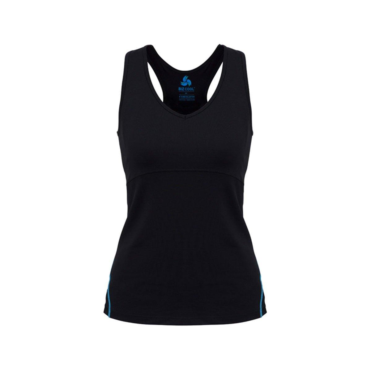 Ladies Maya Sports Bra Top-Black / Cyan