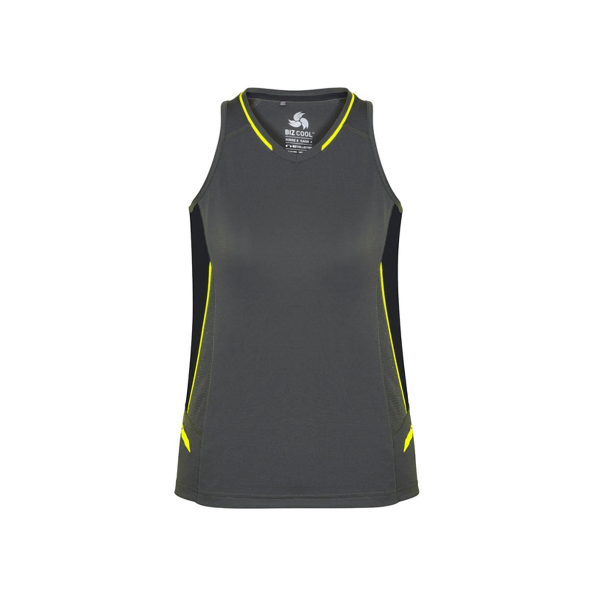 Ladies Renegade Singlet-Grey / Black / Fluoro Yellow