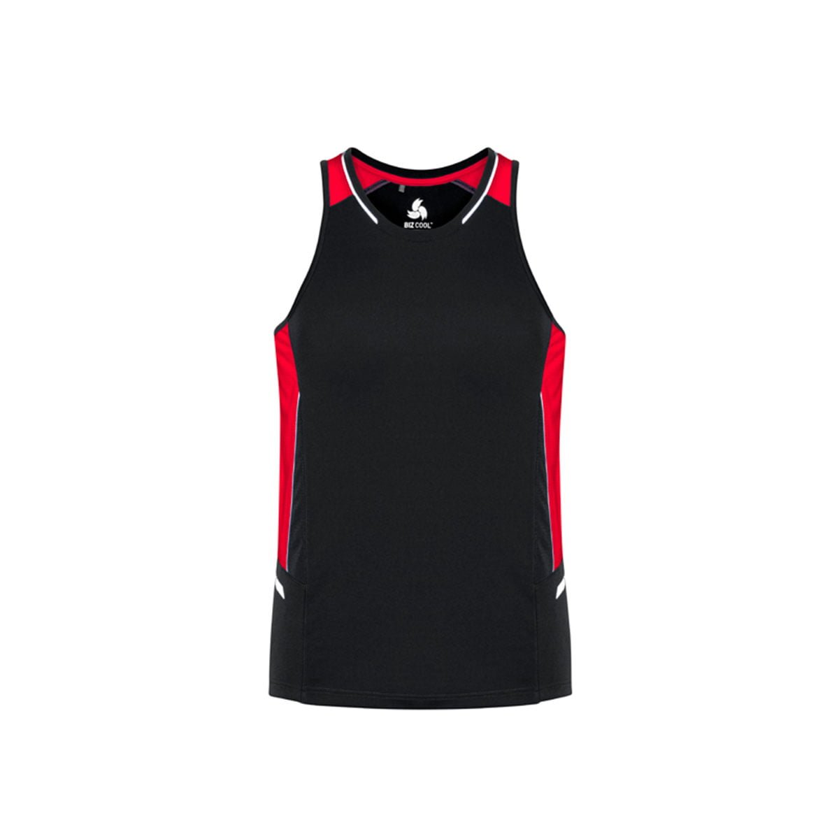 Mens Renegade Singlet-Black / Red / Silver