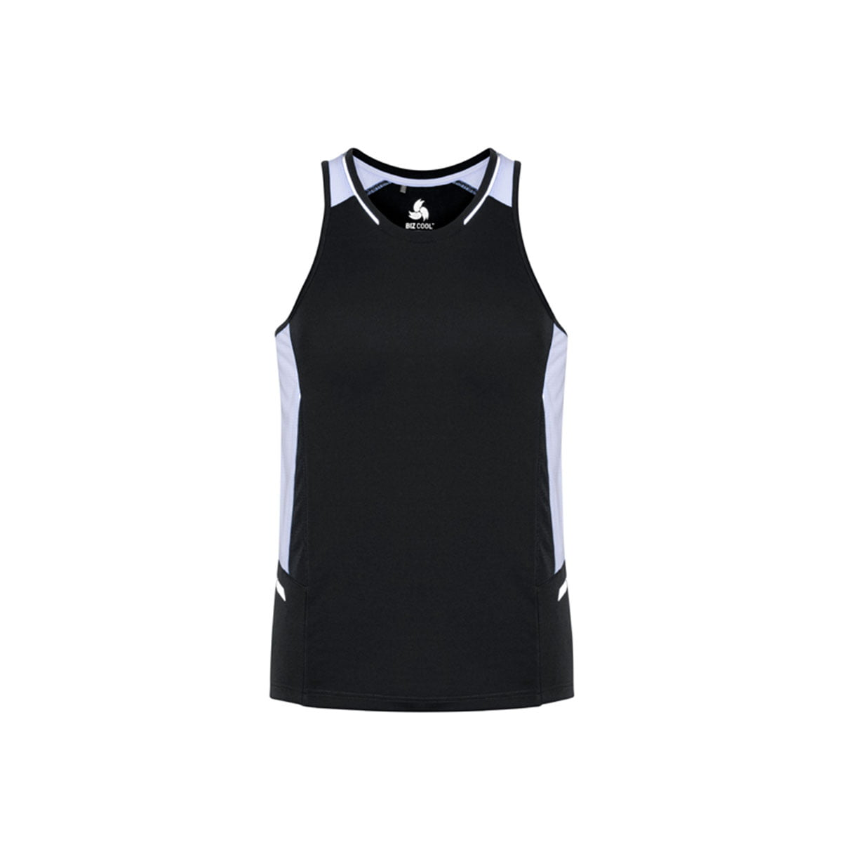 Mens Renegade Singlet-Black / White / Silver
