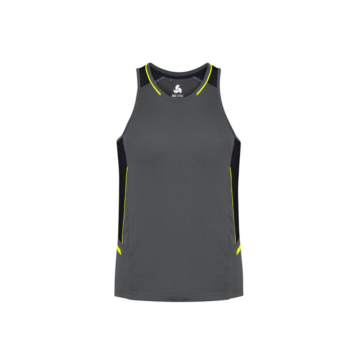 Mens Renegade Singlet-Grey / Black / Fluoro Yellow
