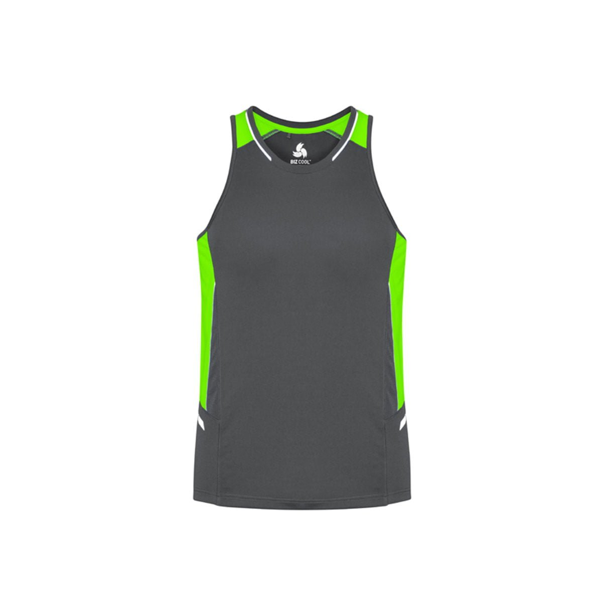 Mens Renegade Singlet-Grey / Fluoro Lime / Silver