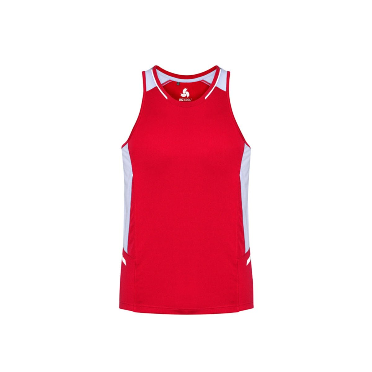 Mens Renegade Singlet-Red / White / Silver