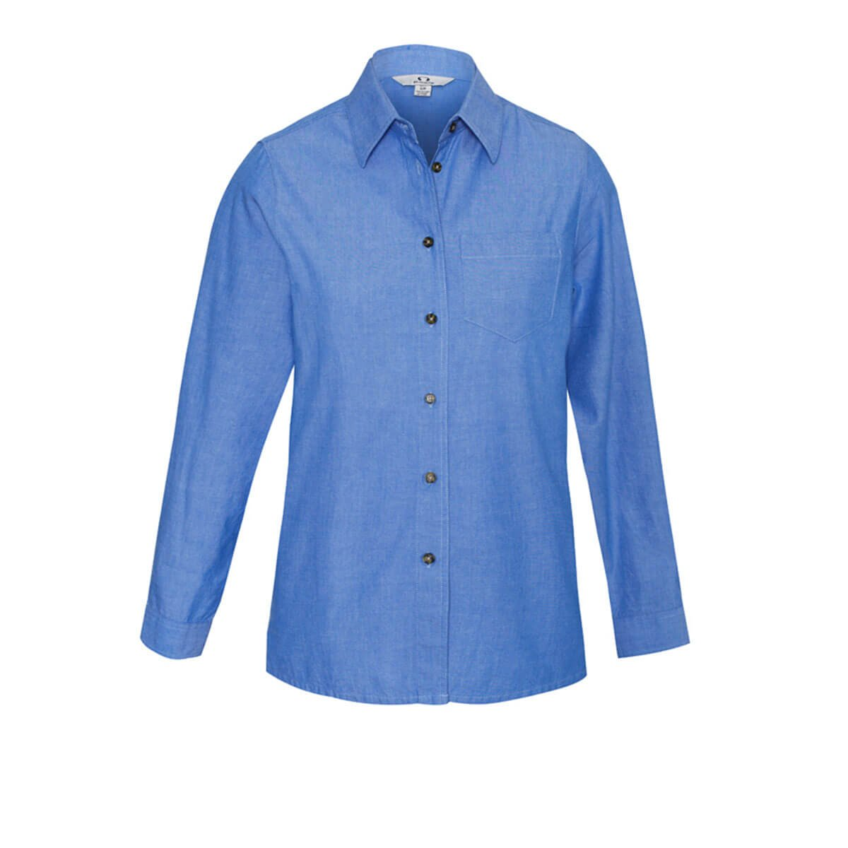 Ladies Wrinkle Free Chambray Long Sleeve Shirt-Chambray