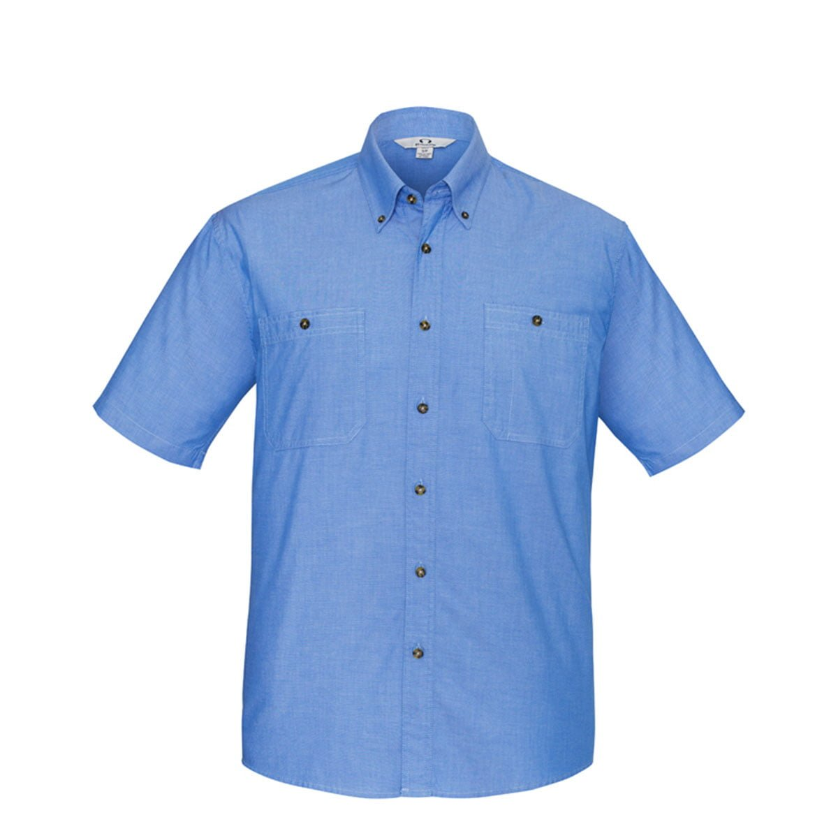Mens Wrinkle Free Chambray Short Sleeve Shirt-Chambray