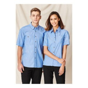 Mens Wrinkle Free Chambray Short Sleeve Shirt