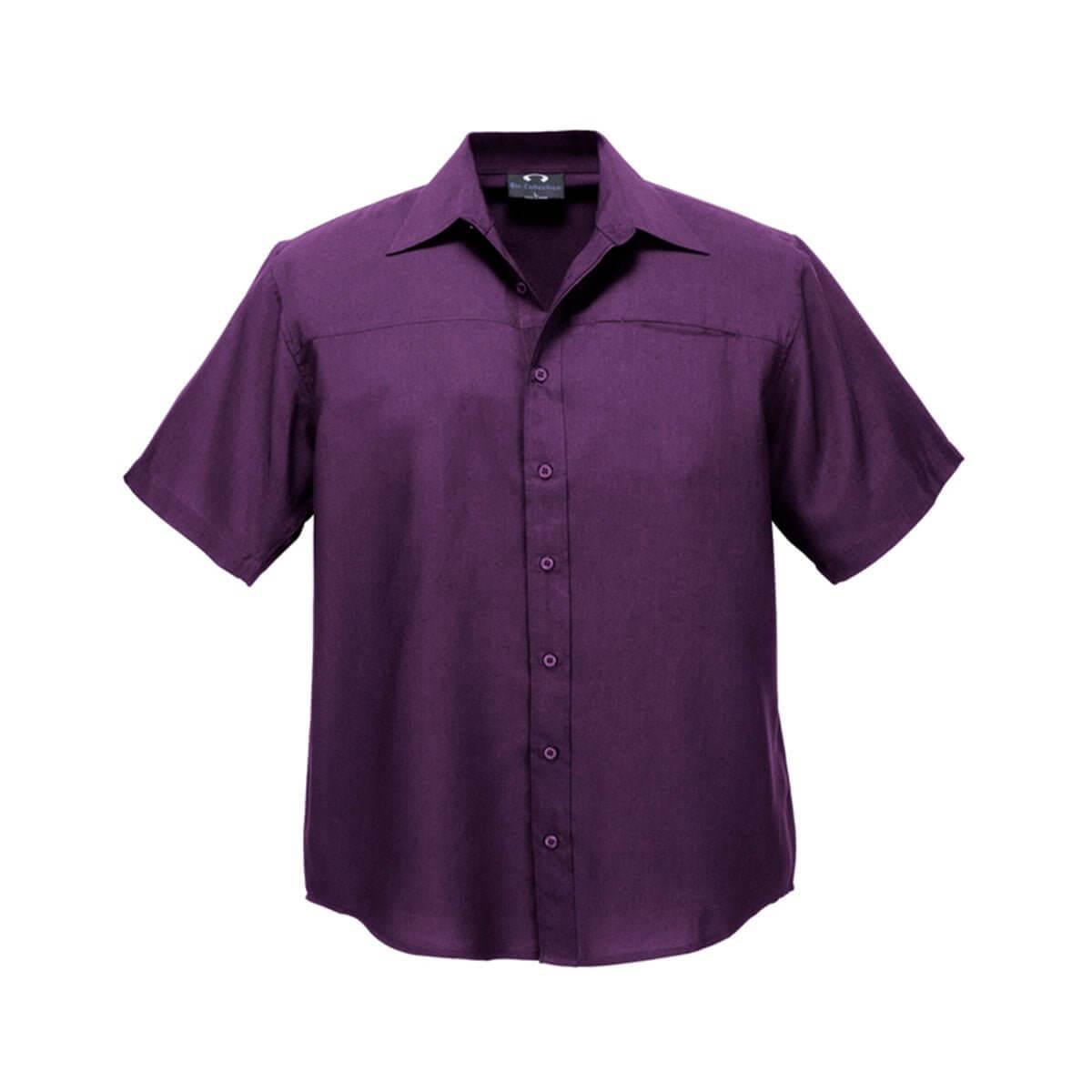 Mens Plain Oasis Short Sleeve Shirt-Grape