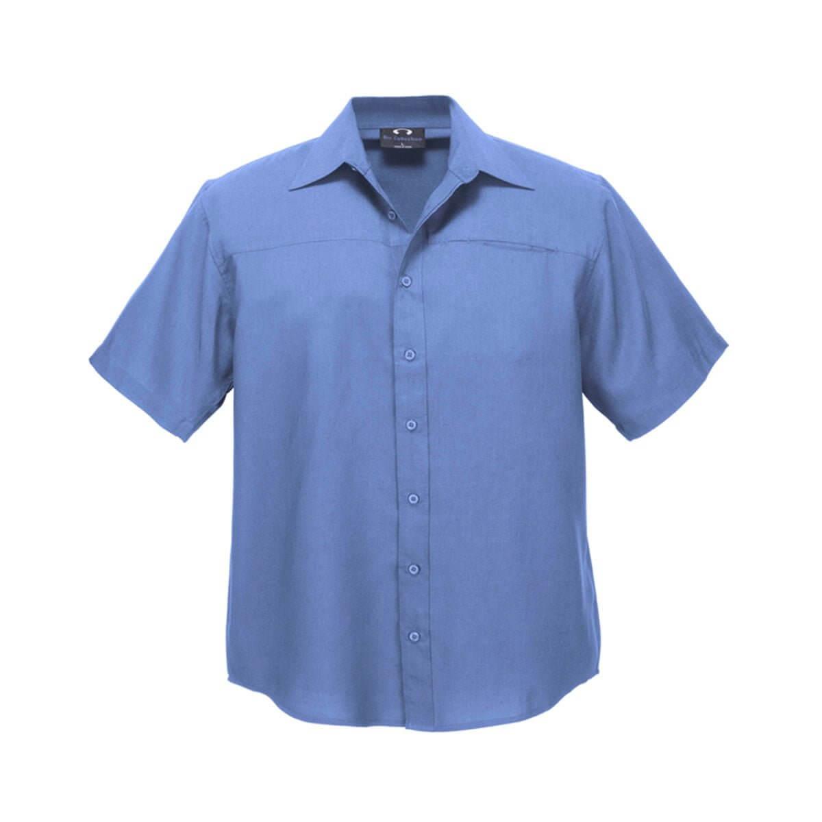 Mens Plain Oasis Short Sleeve Shirt-Mid Blue